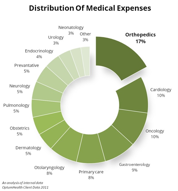 Distribution of Medical Expenses - 17% are for Orthopedics